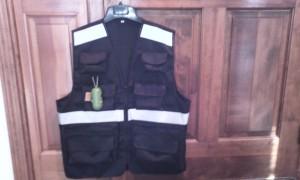 Front of black vest.